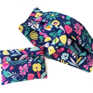 Hawaiian Flowers Face Mask with Optional Carrying Pouch