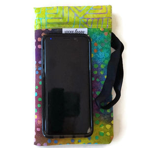 xtra large size tie-dye dots cell phone or sunglass pouch