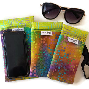 3 sizes of tie-dye dots cell phone or sunglass pouch