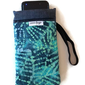 phone inside xl teal batik cell phone or sunglass pouch