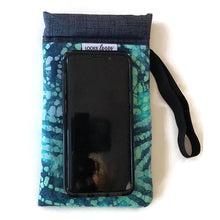 Load image into Gallery viewer, phone outside teal batik cell phone or sunglass pouch