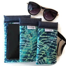 Load image into Gallery viewer, 3 sizes teal batik cell phone or sunglass pouch