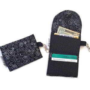 Black and White Swirl Wallet inside and outside