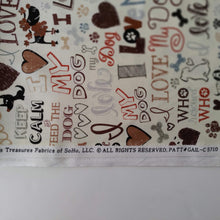 Load image into Gallery viewer, Love my Dog Fabric by the Yard Mfr Info