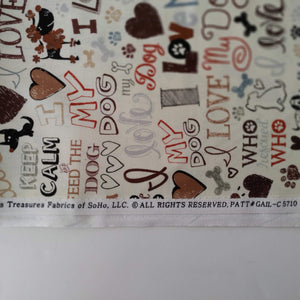 Love my Dog Fabric by the Yard Mfr Info