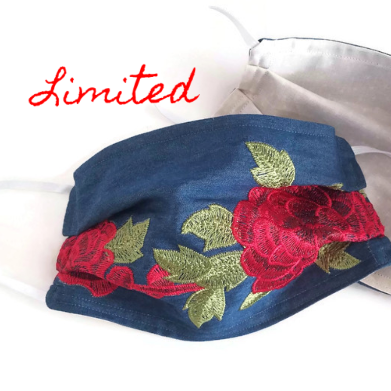 Vibrant Rose Embroidered Face Mask