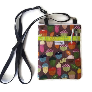 Acorn Print Fabric Crossbody Bag with (optional) Grab & Go