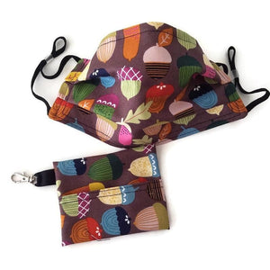 Acorn Print Face Mask with (optional) Clean & Carry Pouch -