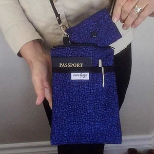 Cobalt blue zippered crossbody bag with pockets for pen lipstick passport phone - front view with optional wallet
