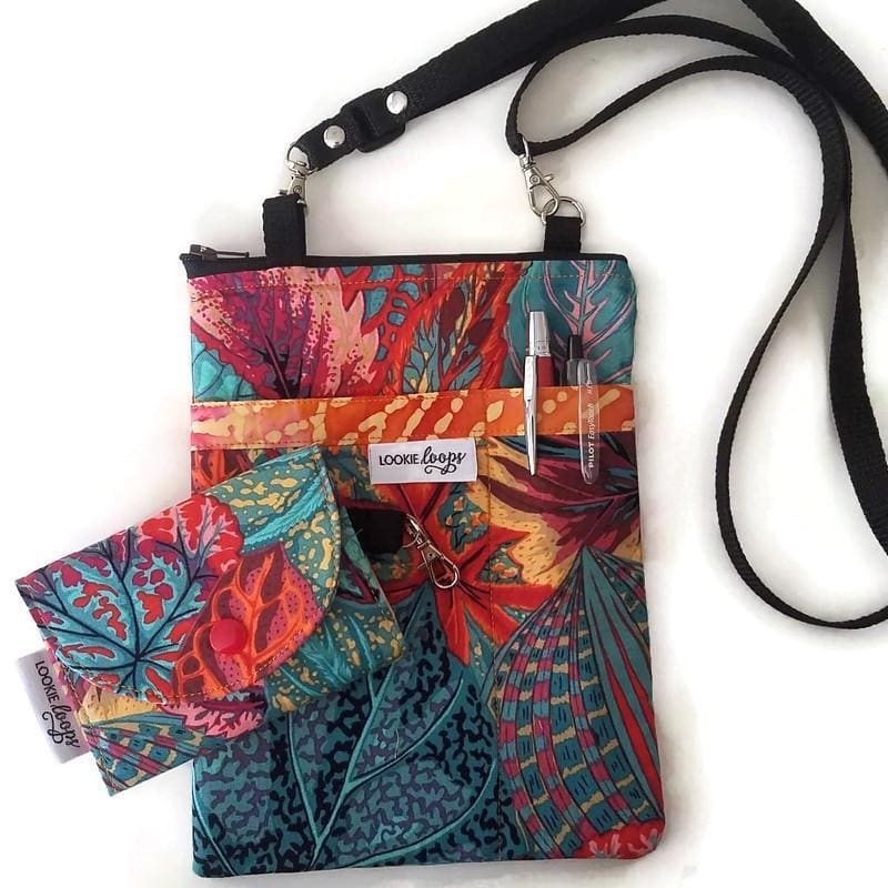 Coleus Leaves Fabric Crossbody Bag with (optional) Grab & Go