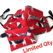 Load image into Gallery viewer, Doggie Print Face Mask with (optional) Clean & Carry Pouch -
