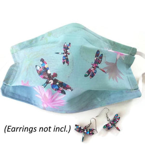 Dragonflies on Water Lilies Fabric Face Mask - Face Masks