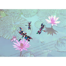 Load image into Gallery viewer, Dragonflies on Water Lilies Fabric Face Mask - Face Masks