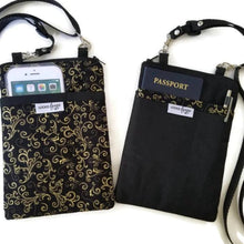 Load image into Gallery viewer, Fabric Crossbody Bag - Black with Gold Scroll Trim -