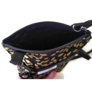 Fabric Crossbody Bag - Gold Leaf Pattern - Crossbody Bags