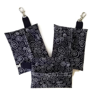 Face Mask Clean & Carry Pouch (various patterns) - B&W Swirl