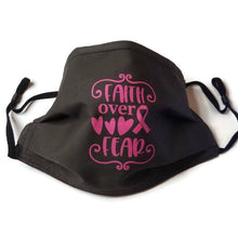 Load image into Gallery viewer, faith over fear black custom mask