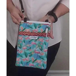 flamingos crossbody bag with pockets