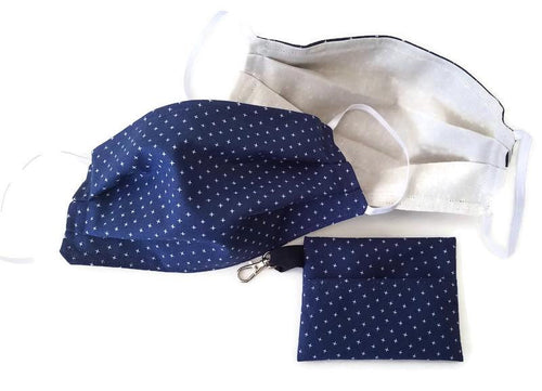 Navy Face Mask with (optional) Clean & Carry Pouch