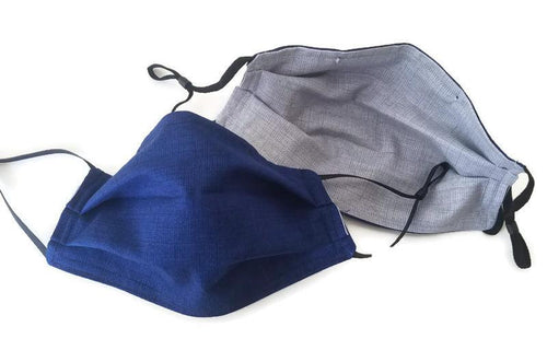 Solid Navy Face Mask with (optional) Clean & Carry Pouch - Textured Pattern