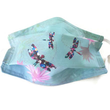 Load image into Gallery viewer, Dragonflies on Water Lilies Fabric Face Mask