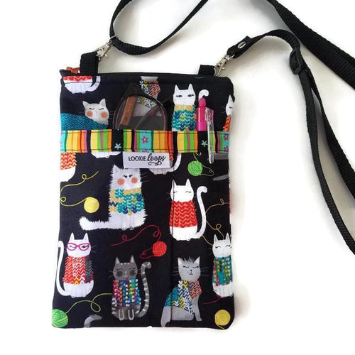 knit together cats crossbody bag with pockets