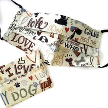 Load image into Gallery viewer, Love My Dog Face Mask with (optional) Clean & Carry Pouch -