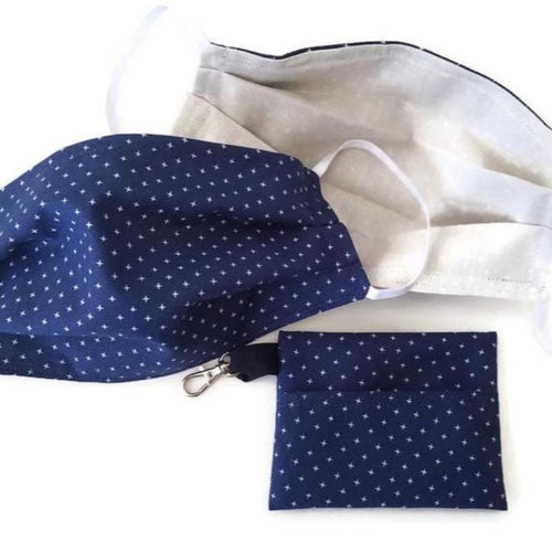 Navy Face Mask with (optional) Clean & Carry Pouch - Face