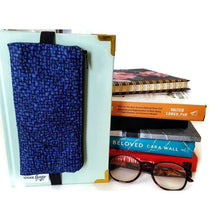 Load image into Gallery viewer, bedrock cobalt pencil pen glasses case on journal - front view