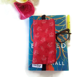 British novelty print pen pencil or glasses pouch on novel - front view