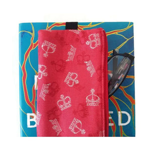 British novelty print pen pencil or glasses pouch on novel - front view with readers