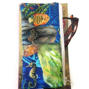 Undersea print pen pencil or glasses pouch - front view with reading glasses