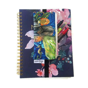 Undersea print pen pencil or glasses pouch on notebook - front view with reading pens