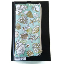 Load image into Gallery viewer, Shell pattern pen pencil or glasses pouch attached to journal - front view