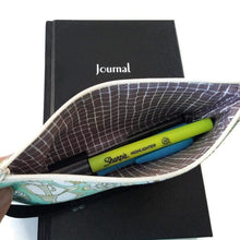 Load image into Gallery viewer, Shell pattern pen pencil or glasses pouch on journal - view showing pens inside