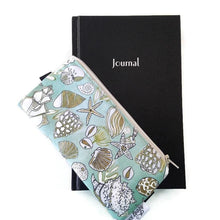 Load image into Gallery viewer, Shell pattern pen pencil or glasses pouch on journal - front view