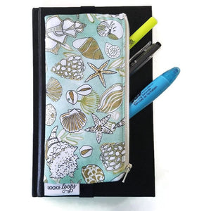Shell pattern pen pencil or glasses pouch attached to journal with pens - front view