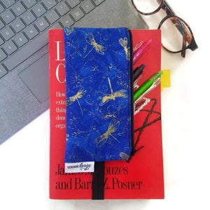 Dragonfly pattern pen pencil or glasses pouch attached to book - front view with glasses and pens