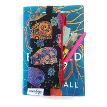 Load image into Gallery viewer, Laurel Burch pattern pen pencil or glasses pouch attached to novel - front view showing pens