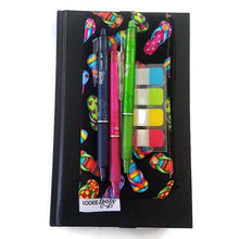 Load image into Gallery viewer, Flip flops pattern pen pencil or glasses pouch attached to journal - front view with stickies and pens