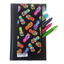 Load image into Gallery viewer, Flip flops pattern pen pencil or glasses pouch attached to journal - front view with pens
