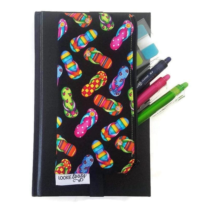 Flip flops pattern pen pencil or glasses pouch attached to journal - front view with pens