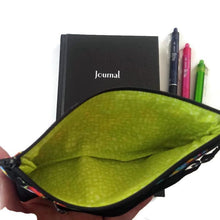 Load image into Gallery viewer, Flip flops pattern pen pencil or glasses pouch next to journal - inside view showing lining