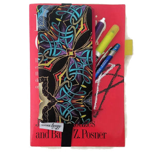 Bold graphic pattern pen pencil or glasses pouch attached to book - front view showing pens