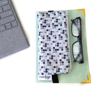 Graphic blue pattern pen pencil or glasses pouch attached to journal - front view with glasses
