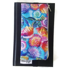Load image into Gallery viewer, Vibrant shell pattern pen pencil or glasses pouch attached to journal - front view closed