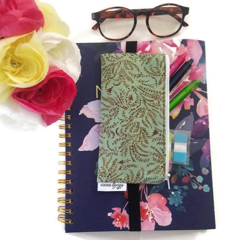 Retro classic toile pattern pen pencil or glasses pouch attached to notebook - front view showing pens and glasses