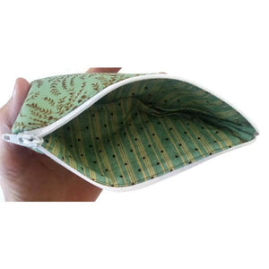 Retro classic toile pattern pen pencil or glasses pouch -inside view showing green lining