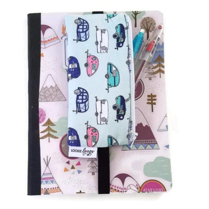Novelty trailer print pattern pen pencil or glasses pouch attached to notebook - front view showing pens