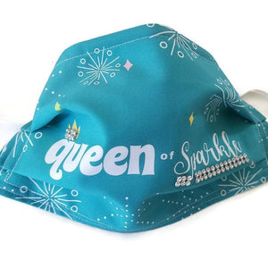 Queen of Sparkle Custom Face Mask - Teal - Face Masks